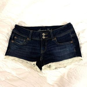 American Eagle Dark Denim Shorts with Lace